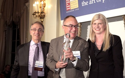 Ken Makovsky, President of Makovsky, with Frank Ovaitt and Tina McCorkindale, President & CEO of IPR.